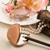 Bronze Metallic Heart Compact Mirror