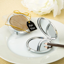 Modern Gold Graphic Design Compact Metal Mirror