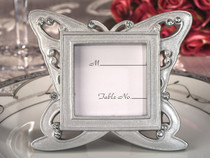 Stylish Butterfly Design Silver Place Card Frame Favour
