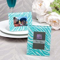 Aqua Blue Zebra Pattern Place Card Holder, Picture Frame Favours