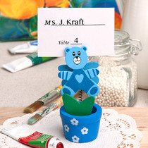 Blue Teddy Bear Flower Pot Place Card Photo Holder