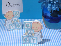 Oh How Cute Blue Baby Block Place Card Holder