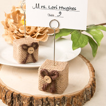 Rustic Burlap Place Card Photo Holder