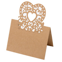 Pack of 10 Heart Design Place Card Kraft Brown