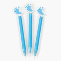 6 x Plastic Blue Baby Feet Pens