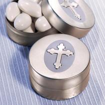 Silver Cross Design Mint Tins
