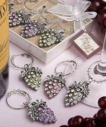 Glistening Grape Design Wine Charm Sets