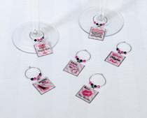 Set of 6 Bachelorette Wine Charms