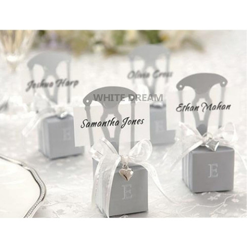 Miniature Silver Chair Favour Box with Ribbon & Silver Heart