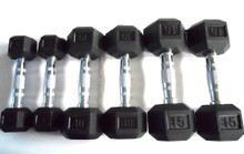 15LB Rubber-Hex Dumbbell