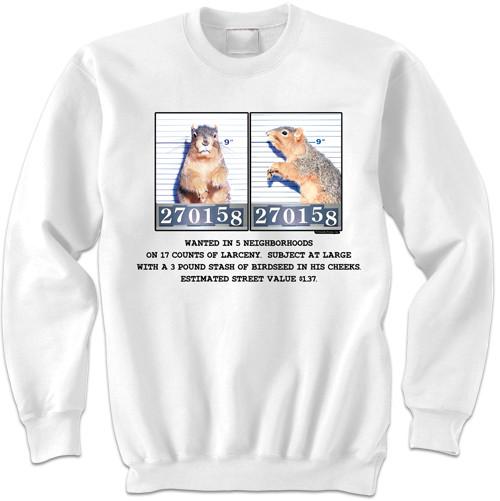 Mugshot Squirrel | Funny Squirrel Sweatshirt