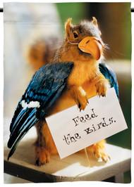 """Feed the Birds   Funny Squirrel Garden Flag   12"""" x 18""""   100% polyester"""