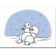 Snowman Squirrel Personalized Greeting Card