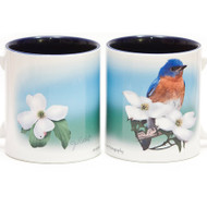 Eastern Bluebird Mug on Dogwood