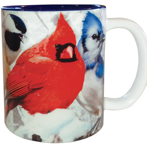 Feeder Favorites Bird Mug | Blue Jay, Woodpecker, Bluebird, Nuthatch, Chickadee, Cardinal | 11 oz. | Jim Rathert
