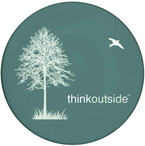 Think Outside Tree Sandstone Ceramic Coaster | Front