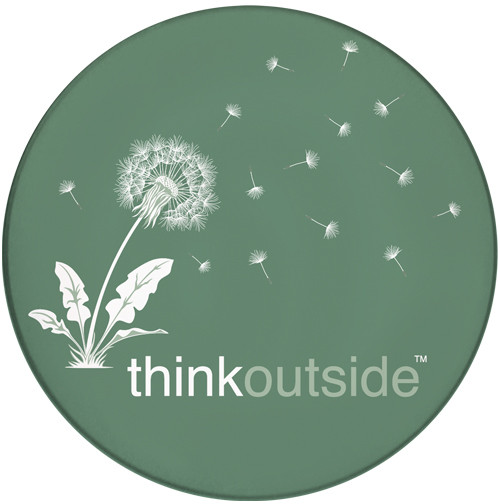 Think Outside Dandelion Sandstone Ceramic Coaster | Front