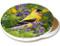 Summer Goldfinch Sandstone Ceramic Coaster | Image shows front and cork back