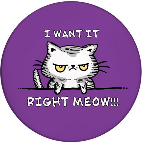 I want it Right Meow Sandstone Ceramic Coaster   Funny Cat Coaster