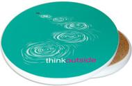 ThinkOutside Skipping Stones Sandstone Ceramic Coaster | Image shows front and cork back