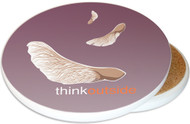 ThinkOutside Maple Seeds Ceramic Coaster | Helicopter Seeds | Image shows front and cork back