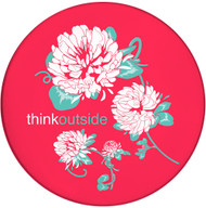 Think Outside Clover Flower | Ceramic Coaster | Moisture Proof | Spiced Poppy Pink | Front