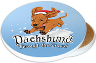 Dachshund Through the Snow Sandstone Ceramic Coaster | Image shows front and cork back