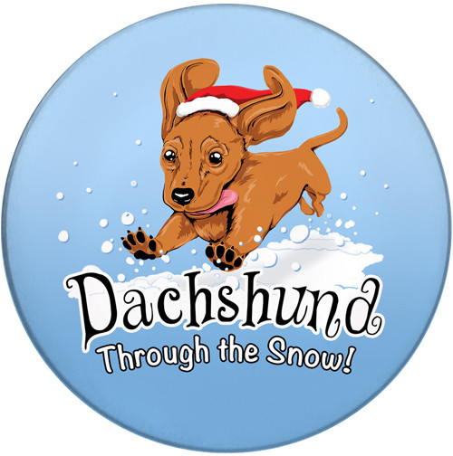 Dachshund Through the Snow Sandstone Ceramic Coaster | Front | Christmas Coaster
