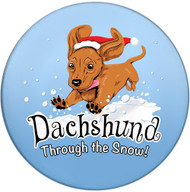 Dachshund Through the Snow Sandstone Ceramic Coaster | Front