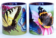Butterfly Mug | Red Spotted Purple, Swallowtail, and Red Admiral Butterflies | Ceramic 11 oz.