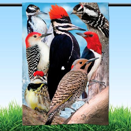 "Woodpecker Garden Flag | 12"" x 18"" | 100% polyester"