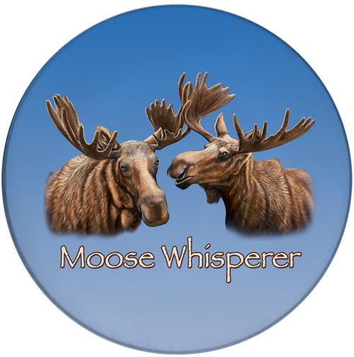 Moose Whisperer Sandstone Ceramic Coaster | Cool Moose Coaster | Front