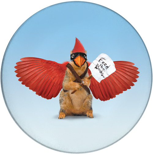 Feed the Cardinal Whisperer Sandstone Ceramic Coaster | Front