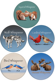 The Whisperer Collection | Choose 4 Designs from: Whisperer Coasters: Squirrel Whisperer, Bird Whisperer, Cardinal Whisperer, Wolf Whisperer & Moose Whisperer| 5 pack