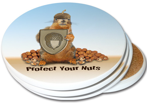 Protect Your Nuts Sandstone Ceramic Coasters | 4pack