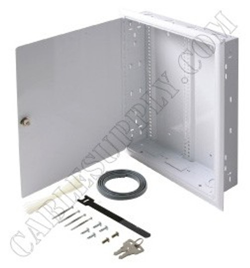 FastHome Network Enclosure from Steren will mount on a wall (surface mount) or between the center wall studs (flush mount)