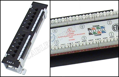 Cat6 12 Port Vertical Wall-Mount Computer Patch Panel