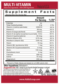 Nutritional Information 15 Calories 4 gms Carbohydrates Serving Size: 1 Scoop = 6.0 Grams