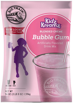 Enjoy the delicious taste of Bubble Gum in this caffeine-free, coffee-free blended crème mix from Big Train. Kidz Kreamz blended crèmes contain the sweet flavors that kids crave, with only 3 grams of fat per 8 oz serving. Of course, it's not just for children, it's also perfect for grown-ups who don't want coffee. Enjoy as a sweet iced drink or a thick, blended frappe. The bulk 3.5 lb bag is perfect for the consistent Big Train drinker and it keeps for months if kept in an airtight container. Treat yourself at home, or serve it in your restaurant or coffee shop. Each 3.5 lb. bag prepares 40 drinks of 8 oz. each.