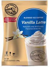 This incredibly popular beverage has captivated coffee lovers all over the world with our artfully blended mix of Arabica coffee and the finest ingredients. In addition to being gluten free, Big Train's Vanilla Latte Blended Ice Coffee contains no trans-fat, no hydrogenated oils and is Kosher and Halal Certified.