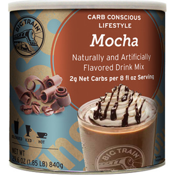 With only 2 grams net cars per 8 oz serving, no added sugar and a rich, creamy taste, Big Train's Low Carb Mocha Blended Ice Coffee mix allows you to get your blended ice coffee fix while maintaining your low carb lifestyle.