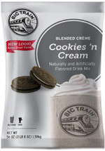 Create your own signature drinks with Big Train's award-winning Cookies 'N Cream Blended Crème. This Coffee-free mix is rich and velvety, with a taste that will have your taste buds begging for more! Not only is our Cookies 'N Cream Blended Crème great alone,it can also be mixed with fruit, candy, cookies, or made into a creamy, satisfying milkshake without the ice cream! Go ahead, let our your creativity run wild!