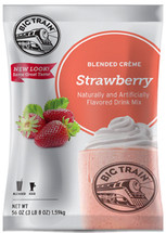 Strawberry blended creme frappe mix from Big Train is as delicious as it is easy to make. Just add water for an amazing creamy fruity beverage. Not only is our Strawberry Blended Crème great alone, it can also be mixed with fruit, candy, cookies, or made into a creamy, satisfying milkshake without the ice cream!