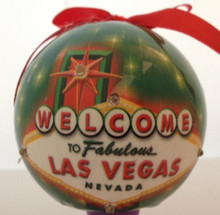 Welcome To Las Vegas Sign Green LED Ornament