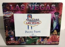 Las Vegas Strip Sign Picture Glass Photo Frame Fireworks