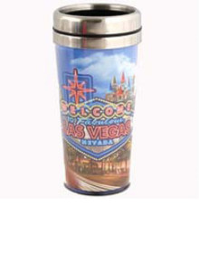 Las Vegas Sign Hotels Stainless Steel Blue Travel Coffee Mug