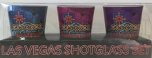 Las Vegas Welcome Sign Shot Glass Set of 3 Blue Pink Purple