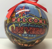 Las Vegas Sign Hotels Christmas Tree Ball Ornament Neon Blue