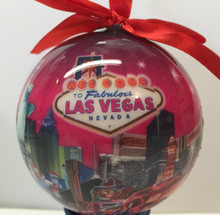 Las Vegas Sign Hotels Christmas Tree Ball Ornament Holiday Pink