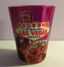 Welcome To Las Vegas Sign Pink Sparkle Shot Glass